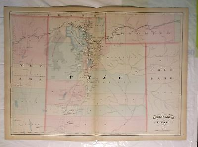 1874 antique map Hand colored UTAH Asher & Adams  double page