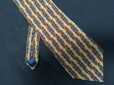 Cocktail Collection mens wide neck tie brown blue geometric 100% silk Wine