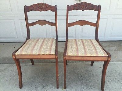 Antique Victorian Upholstered Rose Carved Back Mahogany Wooden 2 Dining Chairs