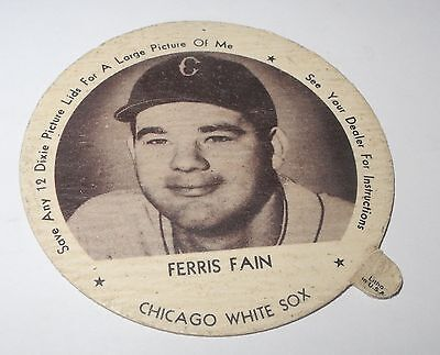 1953 Baseball Dixie Lids/Coin Ferris Fain White Sox Aristrocrat Ice Cream