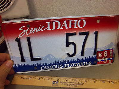IDAHO STATE LICENSE PLATE, Scenic Idaho, Famous Potatoes, 2006, IL 571, red tag