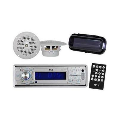 "New PLCD5MRBTS Marine CD SD USB Player + Wireless Bluetooth 2 x 4"" Speakers Pkg"