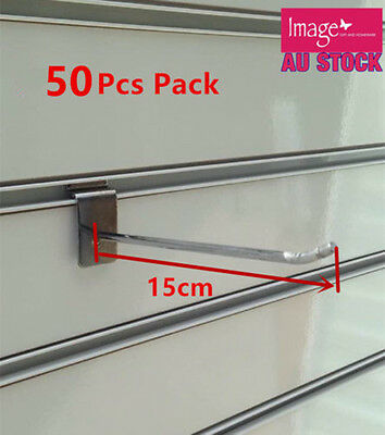 50x Metal Slatwall Slat Wall Hook Peg Board Hook Shelve Supermarket Rack 15cm