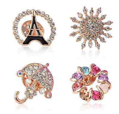 Fashion Charm Gold Plated Colorful Crystal Rhinestone Diamond Brooches WomenTO
