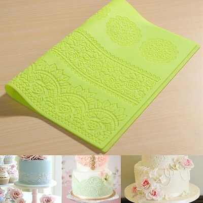 Large Flower Silicone Lace Mold Mould Cake Decor Bake Embossing Mat Craft DIY