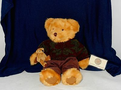"""Nwt ~ Vintage Edition Russ Berrie 13"""" Soft Teddy Bear With Baby"""