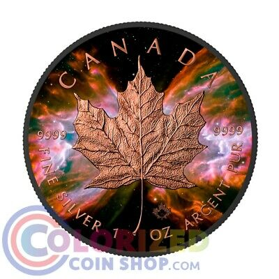 2016 1 Oz Silver Canada BUTTERFLY NEBULA MAPLE Leaf Ruthenium Rose Coin