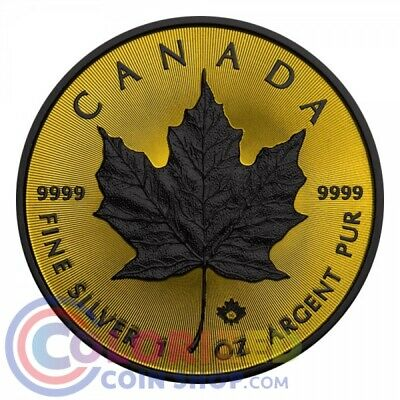 2016 Canada $5 Maple Black Ruthenium Shadows and 24k Gold 1 Oz Silver Coin NEW