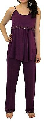 Purple Nursing Pajama Lace Two piece Set Sleepwear Breastfeeding Baby Maternity