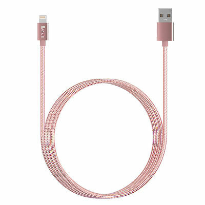 Nylon Braided iPhone 7 6 5s SE Lightning USB Data Cable Charger - 3 ft (Pink)