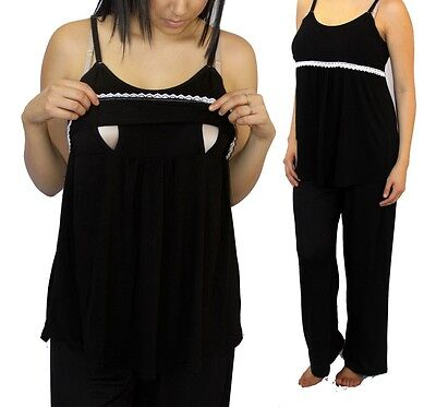 Black Nursing Pajama White Two piece Set Sleepwear Breastfeeding Baby Maternity