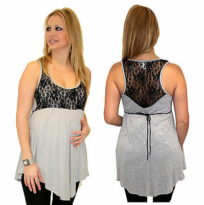 Gray Lace Black Sleeveless Solid Maternity Top Pregnancy BabyShower Trendy New