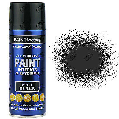 1 x 400ml All Purpose Black Matt Aerosol Spray Paint Household Car Plastic