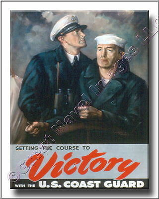 Vintage WWII Poster VICTORY US Coast Guard Canvas Print 2D