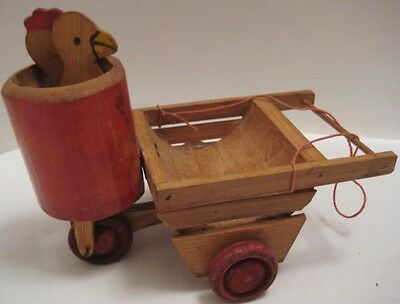 Old Pre War Japan Wooden Chick & Rooster Candy Container Cart w/ Moving Heads