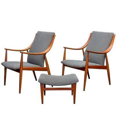 Peter Hvidt Danish Modern Teak Lounge Easy Chairs & Ottoman for John Stuart