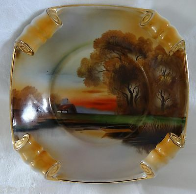 Antique NORITAKE rolled rim BOWL scenic pastoral gold accents HAND PAINTED