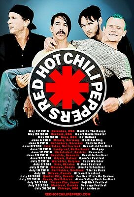 Red Hot Chili Peppers  2016  Box office CONCERT POSTER  World Tour leg1