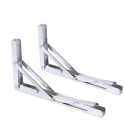 2 x Polished Stainless Steel Folding Bracket for Table 150kg-Long Release Arm