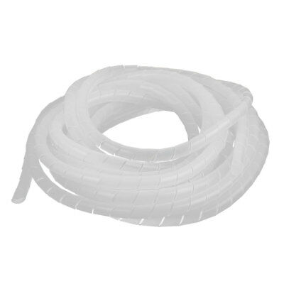 3 Pcs 17.4Ft Tube Computer Manage Cord Cable Wire Spiral Wrap White 10mm Dia