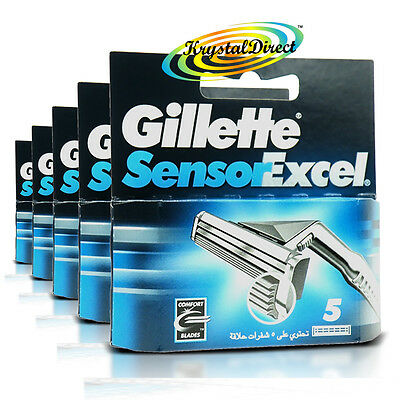 5x Gillette Sensor Excel Replacement Blades Pack Of 5