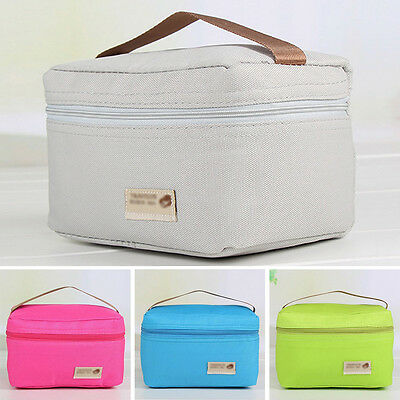 Canvas Insulated Thermal Cooler Bento Lunch Box Tote Picnic Storage Bag Portable