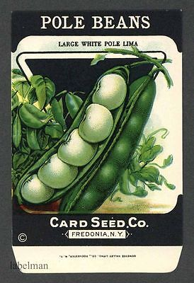 POLE BEANS, White Pole Lima, Antique Seed Packet, Card Seed, Country Store, 088