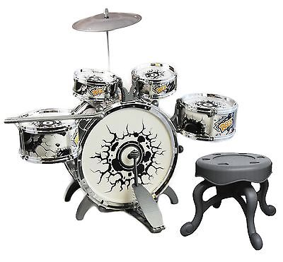 Childs Kids My First Drum Kit Play Set Drums Musical Toy With Pedal & Stool