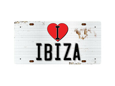 WP_ILC_065 I Love (Heart) IBIZA (rusty metal style design) - Metal Wall Plate