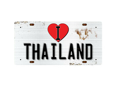 WP_ILC_113 I Love (Heart) THAILAND (rusty metal style design) - Metal Wall Plate