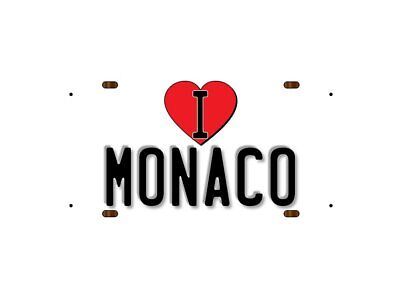 WP_ILC_221 I Love (Heart) MONACO (white background design) - Metal Wall Plate