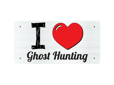 WP_ILV_109 I Love (Heart) Ghost Hunting (grey metallic design) - Metal Wall Plat