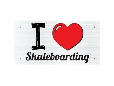 WP_ILV_221 I Love (Heart) Skateboarding (grey metallic design) - Metal Wall Plat