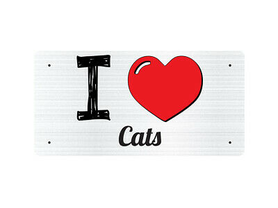 WP_ILV_843 I Love (Heart) Cats (grey metallic design) - Metal Wall Plate