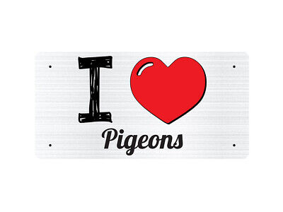 WP_ILV_966 I Love (Heart) Pigeons (grey metallic design) - Metal Wall Plate