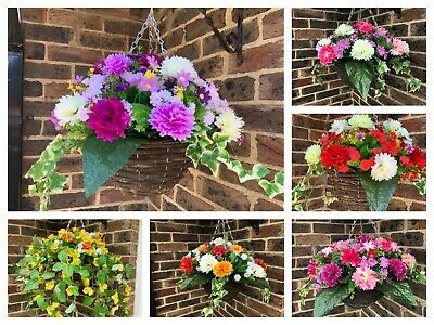 """Ready to hang artificial hanging basket with flowers 9"""" basket 13"""" flower spread"""