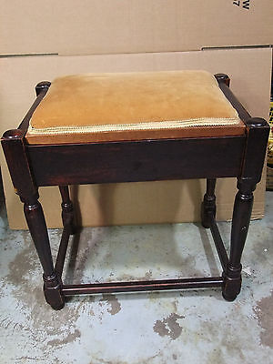 Wooden Stool/Window Seat With Upholstered Top & Storage Compartment - Ea  [7100]