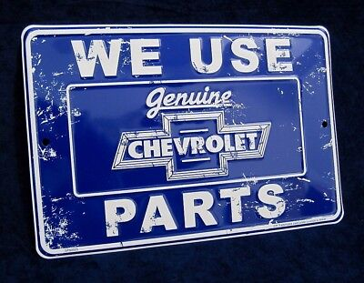 Chevy Chevrolet Genuine Parts *US MADE* Embossed Metal Tin Sign -Man Cave Garage