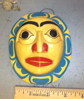 Wood Tribal Style Moon Mask - hand carved and hand painted  beautiful! NEW style