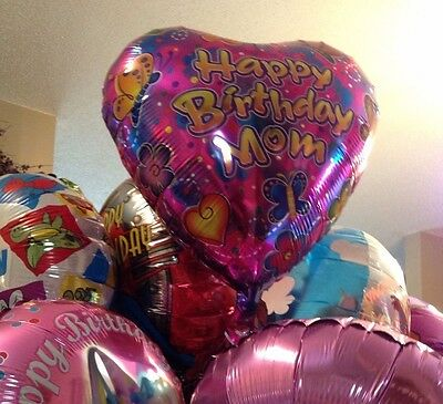 HAPPY BIRTHDAY Mom heart shaped w/ butterflies flowers mylar BALLOON Lot 5 piece