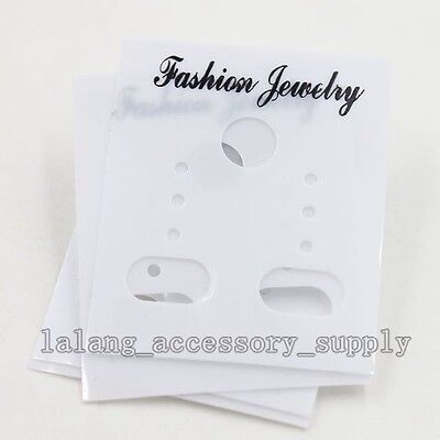 100pcs Lots White Plastic Stud Drop Earring Display Cards Displays Fit Earring J