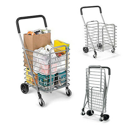 Portable Shopping Cart Rolling Trolley Folding Aluminum Travel Grocery Market