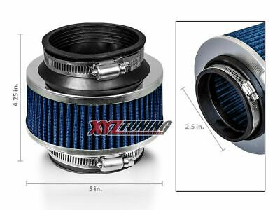 "2.5"" BLUE Performance High Flow Cold Air Intake Bypass Valve Filter Hydro Lock"