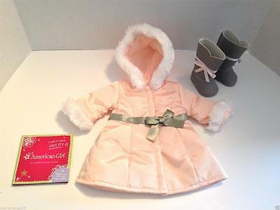 New In Box American Girl Doll MY AG Pretty Pink Coat Boot + Charm Set RETIRED