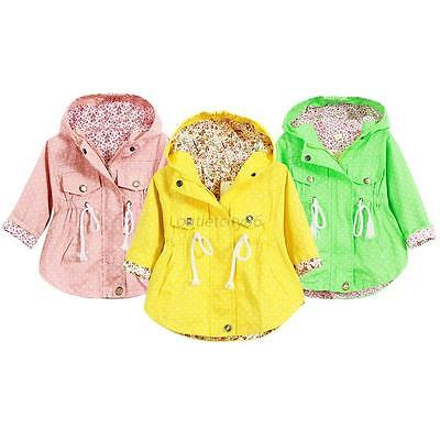 Children Baby Girls Outerwear Hooded  Polka Dot Jackets Coats Hoodies Coats 2-7Y