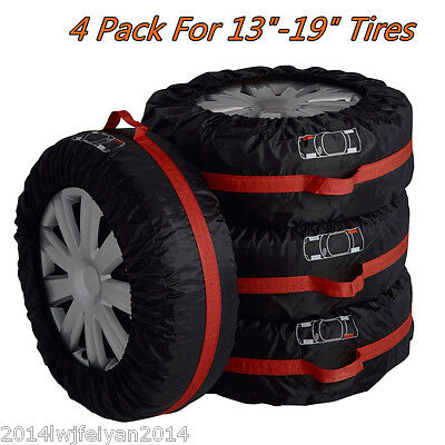 4pc Car Seasonal Spare Tyre Tire Protection Cover Carry Tote Handle Storage Bags