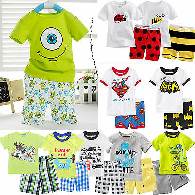 Baby Toddler Boys Cartoon Short Sleeve Cotton T-Shirt Shorts Outfits Clothes SET
