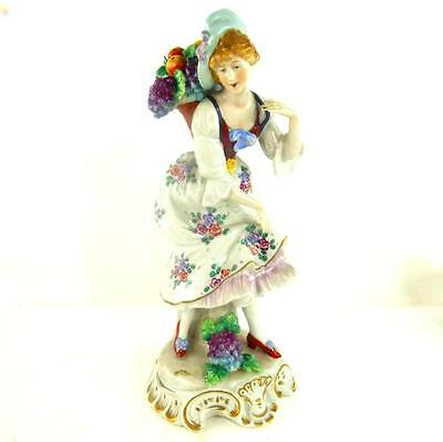 Sitzendorf Porcelain Figurine Of A Lady Grape Picker Hand Painted