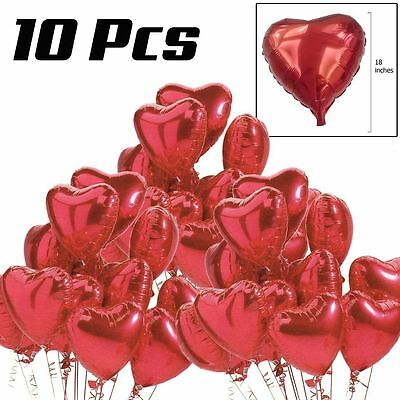 "10 Pcs 18"" Red Heart Love Helium Balloons Valentines Wedding Party Decorations"