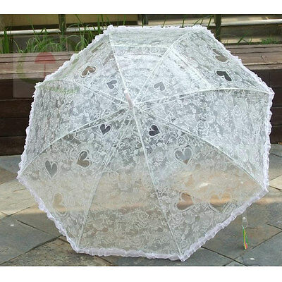 Victorian Rainproof Ivory Heart/Lace Design Bridal/Wedding Umbrella/Parasol